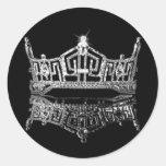 Corona de Srta. América Pegatina Redonda