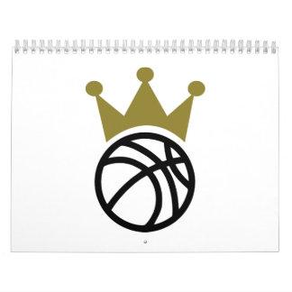 Corona del baloncesto calendario de pared