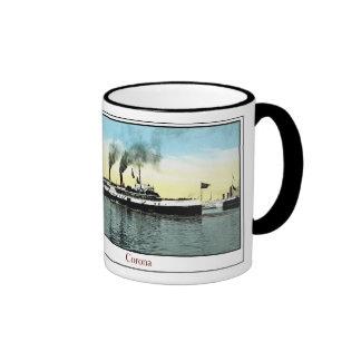 Corona del buque de vapor tazas de café