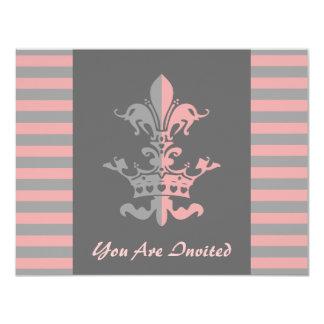 Corona del corazón de Fleur - rosa Invitación 10,8 X 13,9 Cm