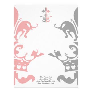 Corona del corazón de Fleur - rosa Membrete Personalizado