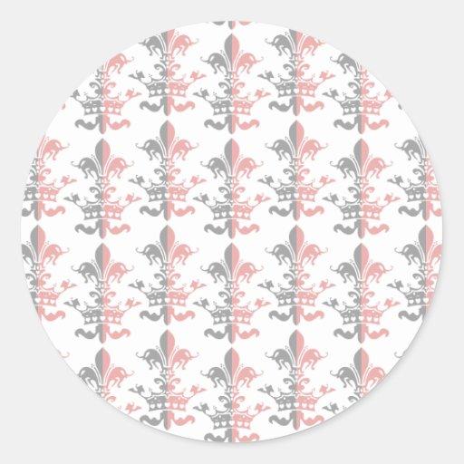 Corona del corazón de Fleur - rosa Pegatina Redonda