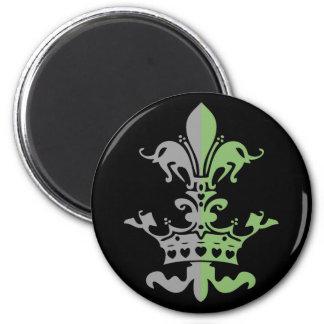 Corona del corazón de Fleur - verde Imán Redondo 5 Cm