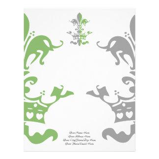 Corona del corazón de Fleur - verde Membrete A Diseño