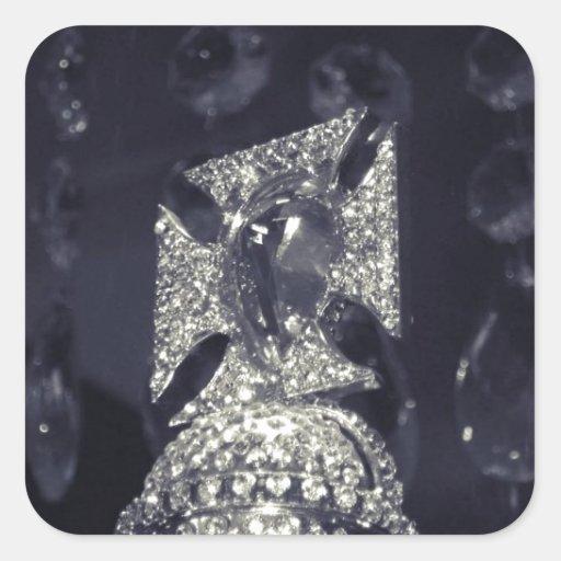 Corona del diamante de la reina de Holanda Pegatina Cuadrada
