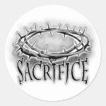 Corona del diseño del clavo del sacrificio de las pegatina redonda