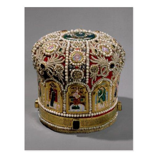 Corona del inglete fijada con las perlas y muy tarjetas postales