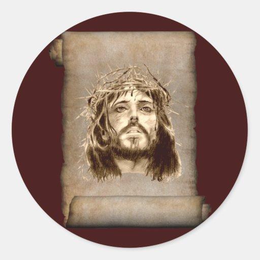 Corona del Jesucristo de espinas en voluta Pegatinas Redondas