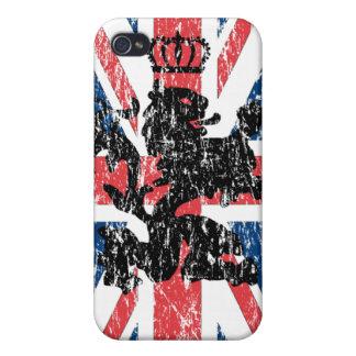 Corona del león de Union Jack (rasguñada) iPhone 4/4S Funda