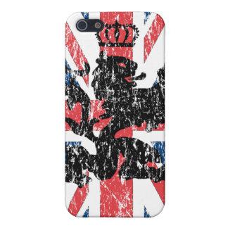 Corona del león de Union Jack (rasguñada) iPhone 5 Funda