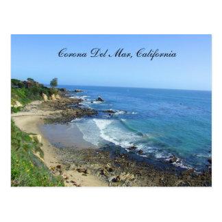 Corona del Mar, playa, costa de California, postal
