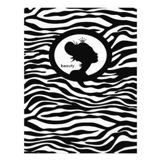 "Corona del negro de la cebra del pelo del aviador  folleto 8.5"" x 11"""