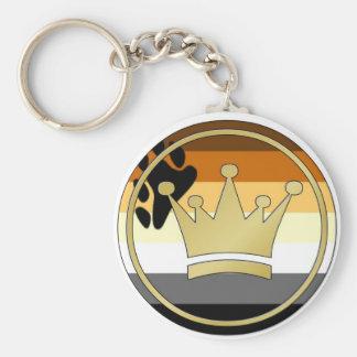 Corona del orgullo del oso llavero redondo tipo pin