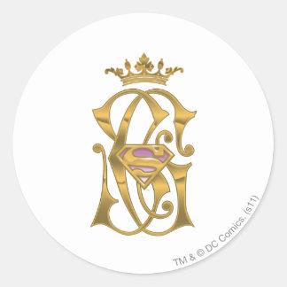 Corona del oro de Supergirl Etiqueta Redonda
