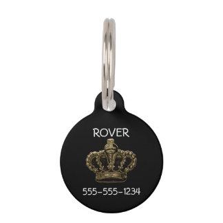 Corona del oro placa de mascota