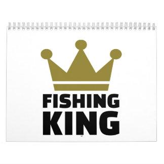 Corona del rey de la pesca calendarios de pared