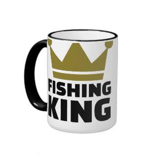 Corona del rey de la pesca tazas de café