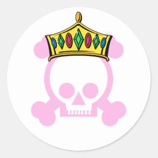 Corona del rey/de la reina pegatinas redondas