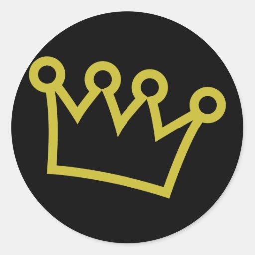 corona del rey del oro de lujo pegatina redonda