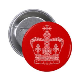 Corona del rey o de la reina pin redondo de 2 pulgadas