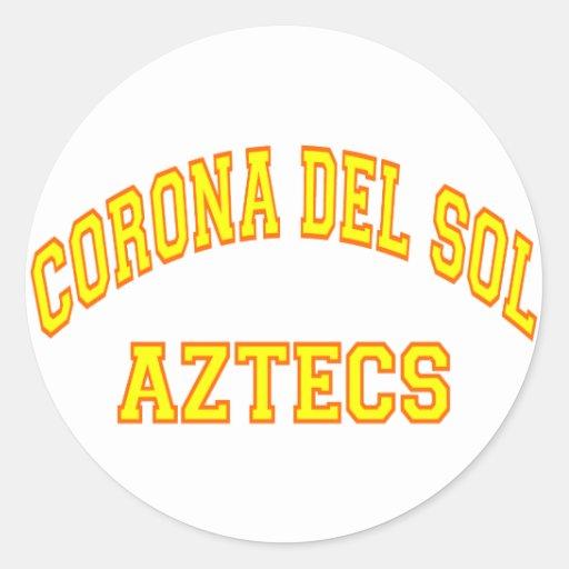 corona del sol aztecs classic round sticker zazzle. Black Bedroom Furniture Sets. Home Design Ideas