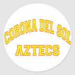 Corona del Sol Aztecs Pegatina Redonda