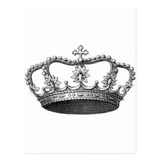 Corona del vintage blanco y negro tarjeta postal