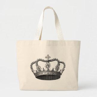 Corona del vintage bolsa tela grande