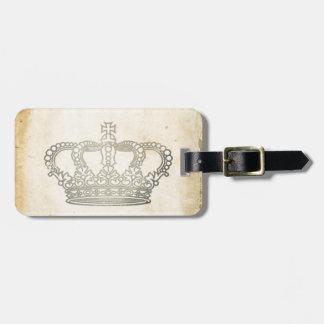 Corona del vintage etiquetas de maletas