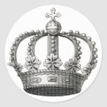 Corona del vintage pegatinas redondas