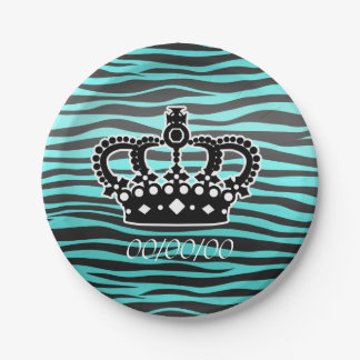 Corona elegante con el estampado de zebra azul