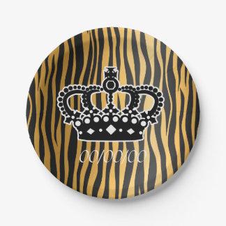 Corona elegante con la impresión de las rayas del platos de papel
