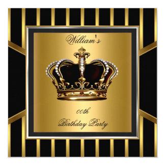 """Corona elegante del cumpleaños de la raya negra invitación 5.25"""" x 5.25"""""""