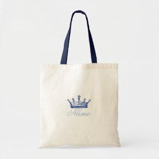 Corona en azul bolsa lienzo