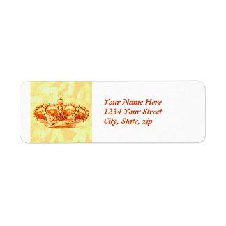 Corona en oro etiqueta de remite