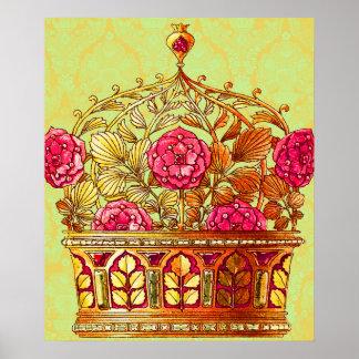Corona floral de oro de Nouveau del arte del vinta Impresiones