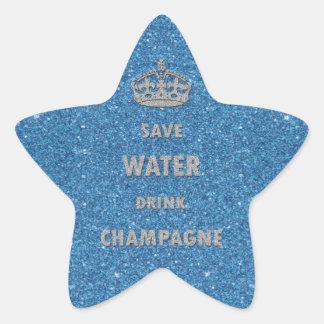 Corona fresca hermosa del champán de la bebida del pegatina en forma de estrella