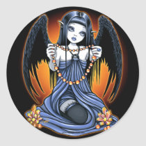corona, gothic, crystals, angel, faerie, art, fantasy, fairy, sun, sunrise, wings, big, eyed, myka, jelina, mika, angels, Sticker with custom graphic design