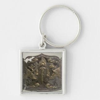 Corona imperial de la plata y de la cerda joven de llavero cuadrado plateado