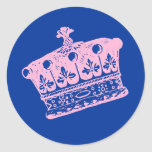 Corona o tiara rosada grande pegatina