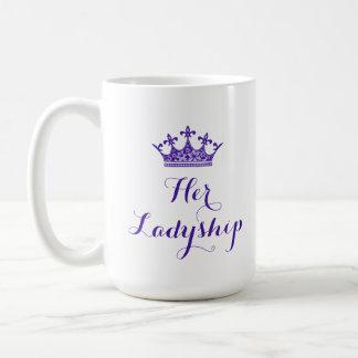 Corona púrpura de la flor su escritura de la taza básica blanca