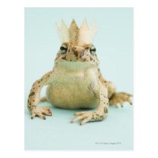 Corona que lleva de la rana tarjetas postales