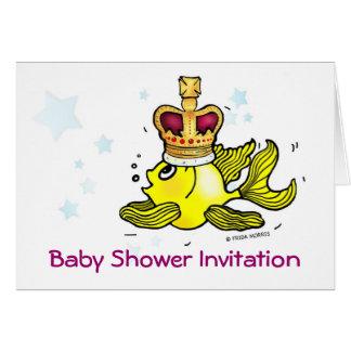 Corona que lleva del goldfish lindo de la tarjeta de felicitación