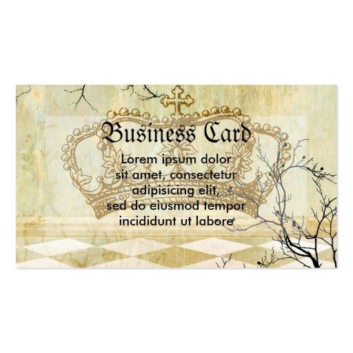 Corona real con las ramas plantillas de tarjeta de negocio