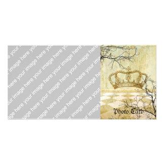 Corona real con las ramas tarjetas con fotos personalizadas