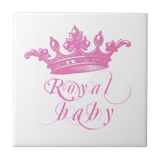 Corona real de los rosas bebés azulejos cerámicos