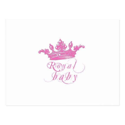 Corona real de los rosas bebés postal