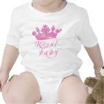 Corona real de los rosas bebés trajes de bebé
