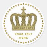 Corona real de oro II + su backgr. y ideas Pegatina Redonda