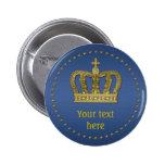Corona real de oro II + su backgr. y ideas Pin Redondo De 2 Pulgadas